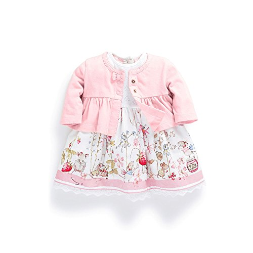 - FERENYI Baby Girl's Clothes Long-Sleeved Jacket with Floral Dress Sets (4-10 Months) Pink
