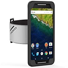 Nexus 6P Armband, MoKo Silicone Armband for Google Nexus 6P by Huawei 5.7 Inch Smartphone 2015 - Key Holder Slot, well-rounded protection, Perfect Earphone Connection while Workout Running, BLACK