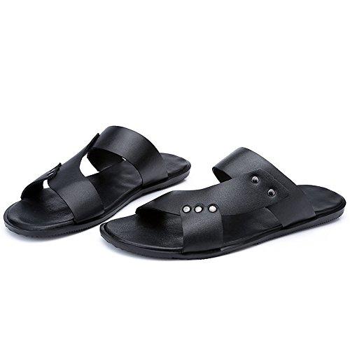 da shoes lacci Colore in Jiuyue in pelle uomo signori piatti Nero finta pelle sandali per spiaggia Pantofole uomo da EU sintetica Scarpe dimensione antiscivolo con 42 Nero wEwa1dqx