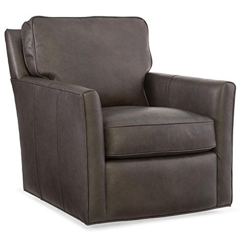 Hooker Furniture Mandy Leather Swivel Club Chair in Gray ()