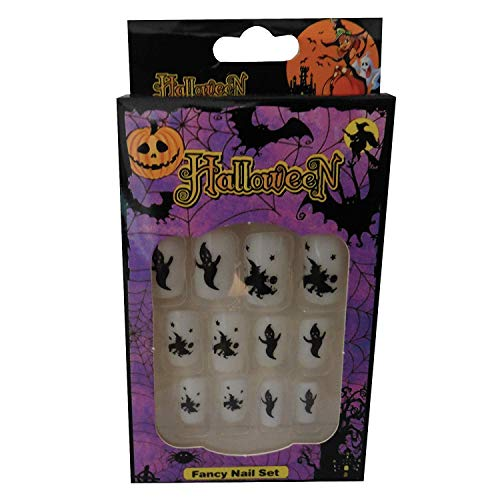 12 Halloween Themed Fake Nails with Glue (HN8)]()