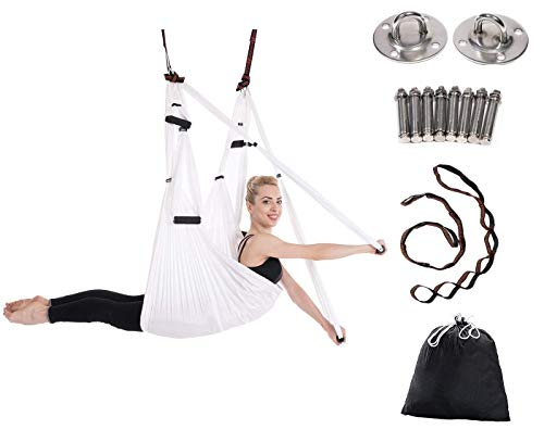 JIALFA Aerial Yoga Swing Set – Ultra Strong Antigravity Yoga Hammock- Aerial Trapeze Kit – Sling for Antigravity Yoga…