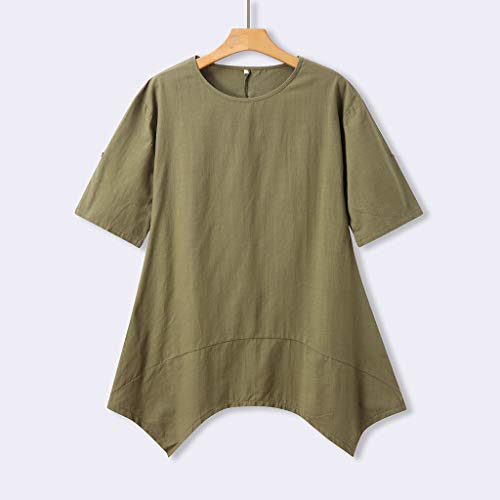 Alangbudu Women's Half Sleeve Tunic Dress V Neck Loose Swing Shift Linen Dresses Green by Alangbudu-Dresses (Image #2)