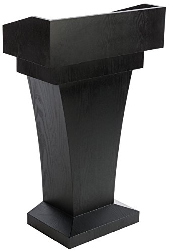 Displays2go Wood Speaking Lectern, Drawer & Storage Area, Black MDF Wood (LCTFSRSTSB) by Displays2go (Image #4)