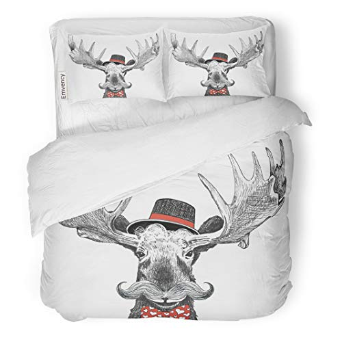 - Semtomn Decor Duvet Cover Set Twin Size Valentines Day Cartoon Hipster Moose Large Handlebar Mustache Cool 3 Piece Brushed Microfiber Fabric Print Bedding Set Cover