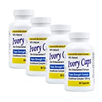 Ivory Caps - Maximum Potency 1500 mg Glutathione Skin Whitening Pills Complex (4-Pack)