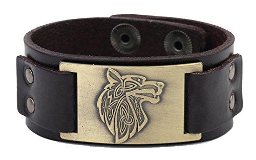 Vintage Nordic Fenrir Viking Wolf Scandinavian Talisman Cuff Leather Bracelet Men Jewelry (brown wrisband and antique -