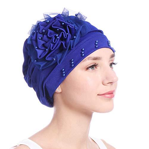 JYS365 Lace Solid Color Flower Beads Decor Women Hijab Muslim Hat Beanie Cap Head Wrap Sapphire Blue