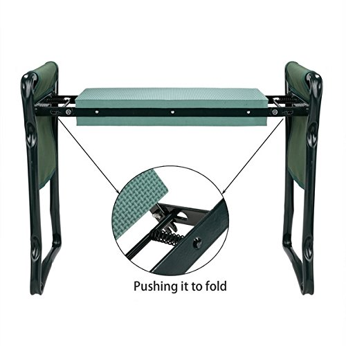 Garden Foldable Kneeler Bench Seat with 2 Tool Pouches and EVA Kneeling Pad Handles