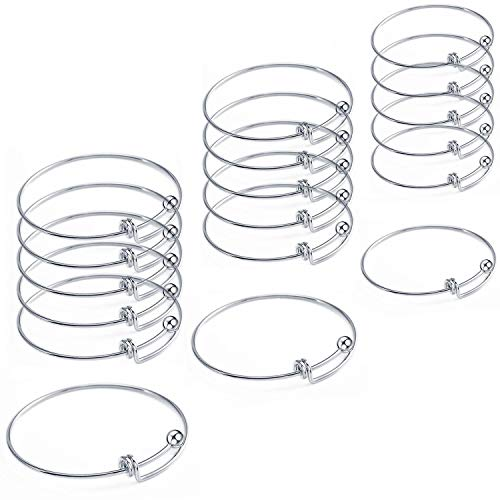 18 Pcs Stainless Steel Expandable Wire Blank Bangle Bracelet for Womens DIY Jewelry Making]()