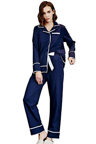 Epinmammy Pregnant Women Stripe Pajama Set Soft Maternity&Nursing Cotton Housewear Deep Blue