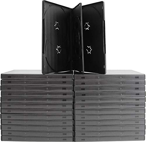 Square Deal Recordings & Supplies (25) 6-Disc Capacity Black 14MM DVD Empty Replacement Cases with Wrap Around Sleeve #DV6R14BK (Square Deal Recordings&supplies)