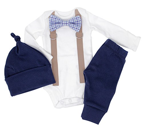 (Newborn Boy Coming Home Outfit. Navy & Brown Bow tie and Suspender Take Home Set (Newborn Long Sleeve))