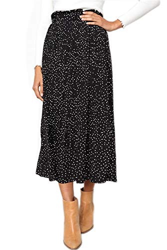 EIFFTER Women's Fashion High Elastic Waist Polka Dot Printed Pleated Midi Vintage Skirts with Pockets (Medium, Black)