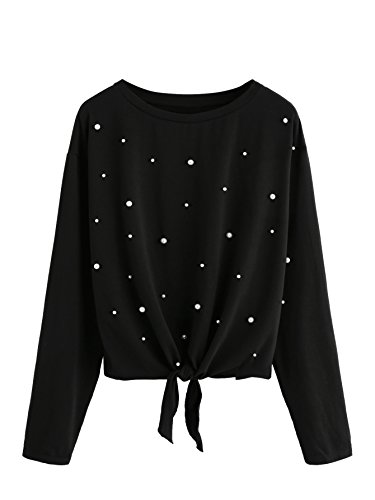 ROMWE Women's Pearl Beaded Knot Front Long Sleeve T Shirts Top Black Small