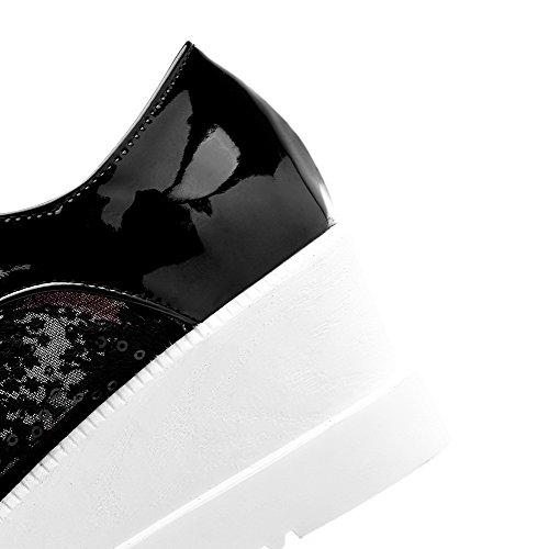 Amoonyfashion Kvinners Patent Lær Firkantet Lukket Tå Kitten-hæler Snøre Faste Pumper-sko Sorte