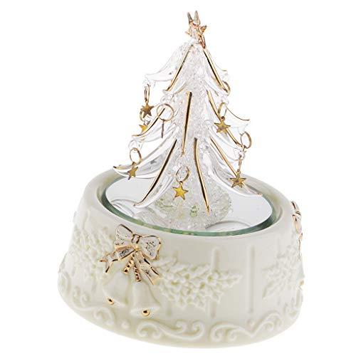 SM SunniMix Spun Glass Merry-Go-Round Christmas Tree Music Box Kids Toys Wind-Up Musical (Ornament Tree Spun Glass)