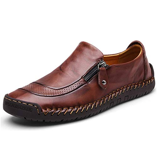 Shoes Casual Men Leather (Qiucdzi Mens Leather Comfortable Shoes Hand Stitching Zipper Non-Slip Casual Shoes Loafer Boat Sneaker (US Men 12.0, Dark Brown))