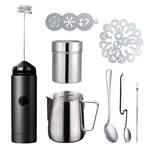 (Milk Frother Handheld Coffee Art Set - with Milk Frother Pitcher, Powder Cocoa Shaker, Latte Art Pen, Coffee Stencils, Coffee Spoons)