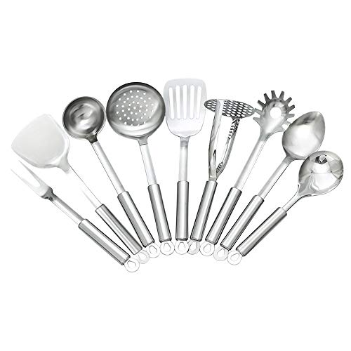 (TAFOND 9 Piece Stainless Steel Kitchen Utensils Sets-Spatula,Soup Ladle,Spoon,Slotted Spatula,Skimmer,Rice Spoon,Spaghetti Spoon,Meat Fork,Potato Masher)