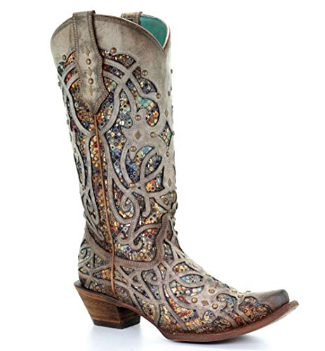 Corral Women's Snip Toe Colorful Inlay & Studs Cowgirl Boot - Taupe - TAUPE - 9 - M
