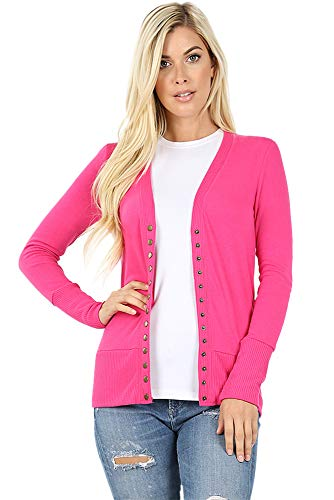 Cardigans for Women Long Sleeve Knit Press-Stud Button Sweater Regular & Plus - Hot Pink (Size L)