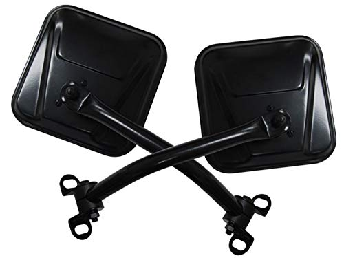 RAMPAGE PRODUCTS 7618 Black Stainless Factory Style Replacement Steel Mirror Kit for 1976-1995 Jeep CJ5 & Wrangler - Pair