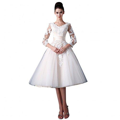 Mollybridal Tea Length V neck Wedding Dress Lace With 3/4 Sleeve Corset 16