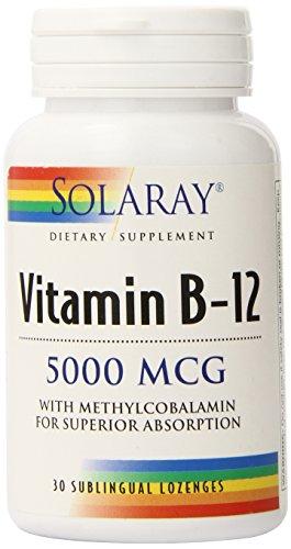 Solaray B-12 Lozenge Supplement, 5000 mcg, 30 (30 Sublingual Lozenges)