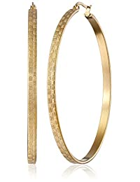 Stainless Steel 18k Gold-Plated Textured Hoop Earrings