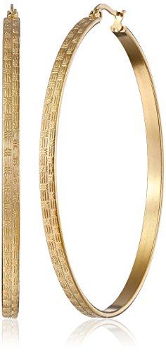 Stainless Steel 18k Gold-Plated Textured Hoop Earrings