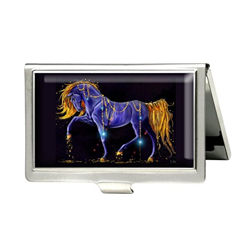 - Purple Horse Custom Business Bank Name Card Case Holder Silver Box Pocket Credit Card ID Wallet