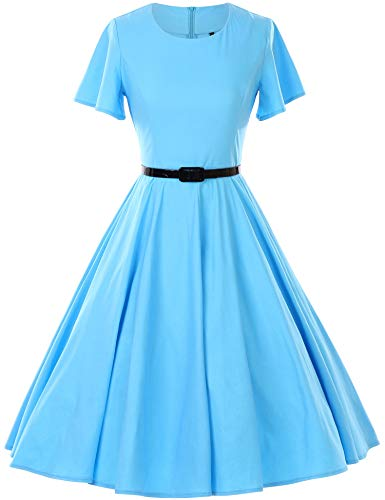 GownTown 1950s Vintage Dresses Butterfly Sleeve Swing Stretchy Dresses,Light Blue,Large -