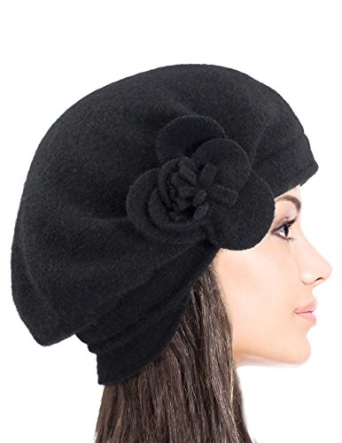 Amazon.com  Dahlia Women s Reversible Wool Beret Hat - Flower Accented -  Black  Clothing 78b88267ddfd
