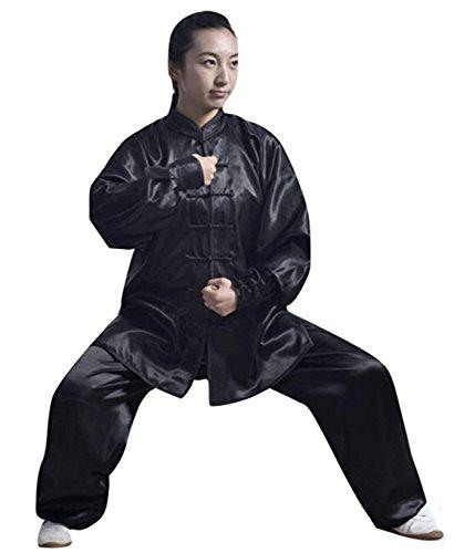 SUKIYAKI Tai Chi Kung Fu Martial Arts Uniform Adult Long Sleeves Men Women White Black Blue Red Pink (Black, XL)