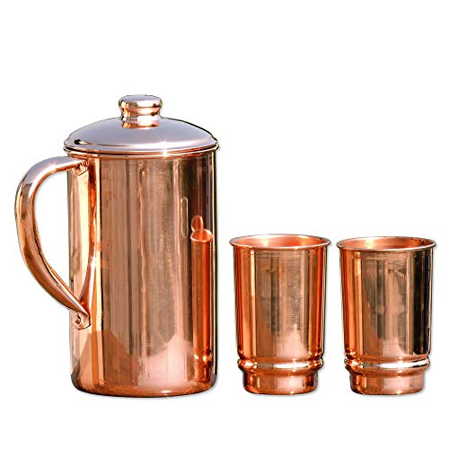 HealthGoodsIn - Pure Copper (99.74%) Water Jug with 2 Copper Tumblers | Copper Pitcher and Tumbler for Ayurveda Health Benefits (Lids With Jugs Drinking)