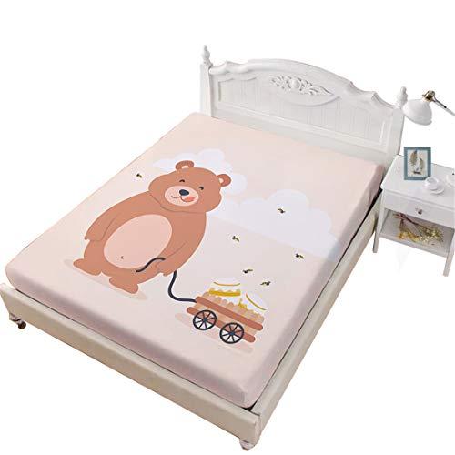 Bee Bear Honey (Oliven Fitted Sheet Full Size Cartoon Bear Bee Honey Printed Single Sheet Kids Sheets Full Boys Girls)