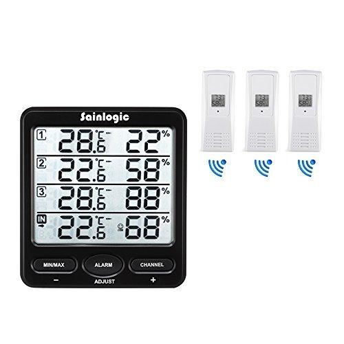 Sainlogic(R) Funk Wetterstation, Thermometer Hygrometer Digital Wetterstationen mit 3 Innen/Außen 8-Kanal Außensensor Luftfeuchte LCD Display Min/max
