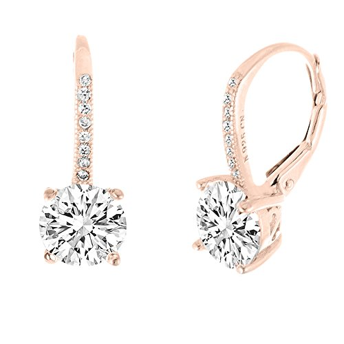 (Rose Gold Plated Sterling Silver Round Cubic Zirconia Drop Fancy Bridal Leverback Earring (Rose Gold) Bridal Party Gift)