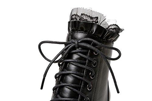 Dentelle Hiver Fine Talons Bottes Femmes En Pour Chaussures Cuir GTYW Talons Martin Bottes Bottes Dentelle Dames Black À Martin Nouveau Femmes Automne Bottes À Bottes Et qX7vB