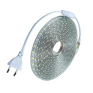 Tanbaby 5M/Pack Waterproof SMD5050 led tape AC220V Flexible led strip 60 leds/Meter outdoor garden lighting with EU plug White Color