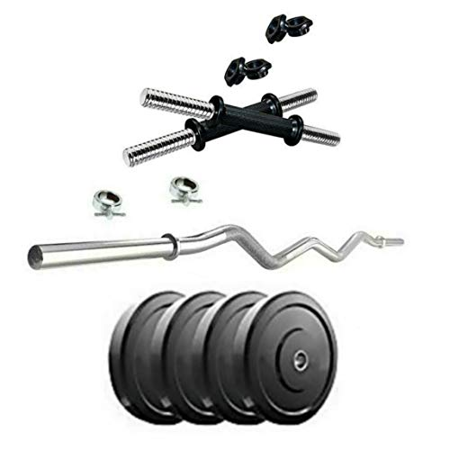 SX Fitness Home Gym Setup Combo Pack of 10 Kg Rubber Weight Plates (2.5 Kg X 4 pcs) with Dumbbell Rod and 3 Feet Curl Rod with 2 Locks for Home Gym Exercise & Fitness kit