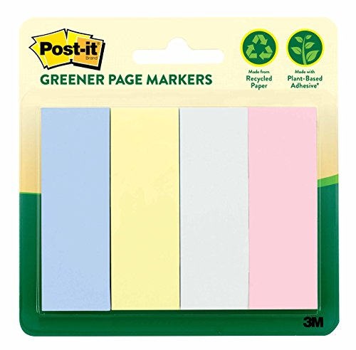 3m Markers (Post-it Greener Page Markers, Helsinki Collection, 1 in x 3 in, 4 Pads/Pack, 50 Sheets/Pad (671-4RP-A))