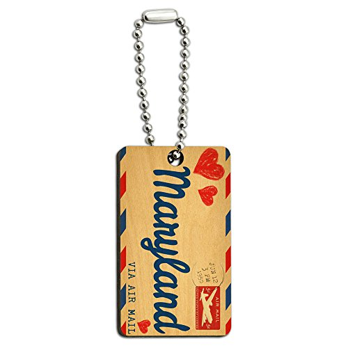 Postcard Maryland Wooden Rectangle Chain