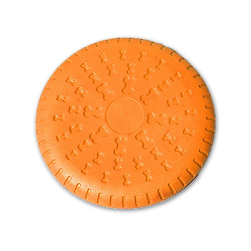 Noyal Dog Disc, Rubber Flyer Dog Flying Disc Dog Toys, 9 Inch Large (Orange-9in)