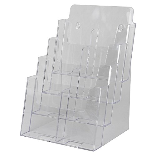 Clear ad lhf s84 acrylic 4 tier brochure holder for Plastic flyer stand