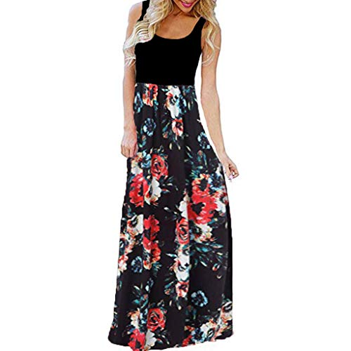 Kiasebu Women's Striped Scoop Neck Floral Print Boho Tank Dress Party Evening Long Maxi Dresses with Pockets (Floral#1-Red, - Bubble Scoop Floral Dress Neck