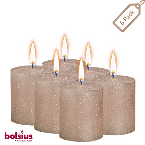 BOLSIUS Rustic Full Metallic Rose Gold Candles - Set of 6 Unscented Pillar Candles - Rose Gold Candles with a Full Metallic Coat - Slow Burning - Perfect Décor Candle - 80/68m 3.25X 2.75 Inches