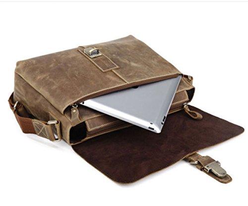 loyofun Hombre Real de piel auténtica para el hombro maletín Laptop Bag... Negro - marrón