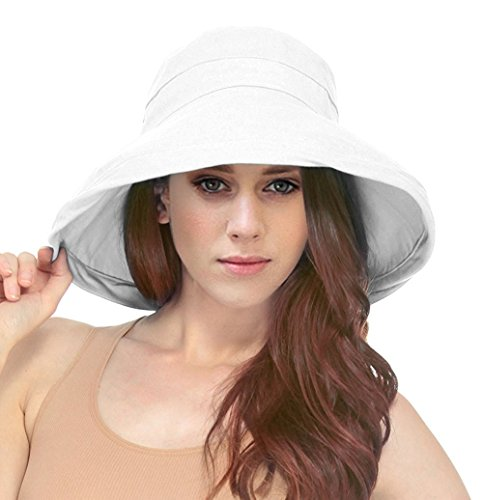 - Simplicity Women's Cotton Summer Beach Sun Hat with Wide Fold-Up Brim White